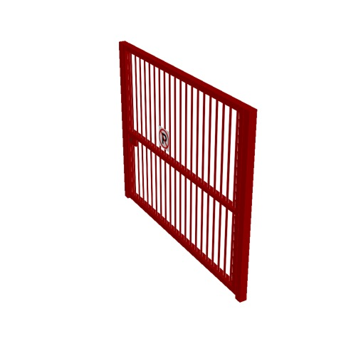 Screenshot of Gate, Red Steel Pallisade, 3m x 2.5m, Closed