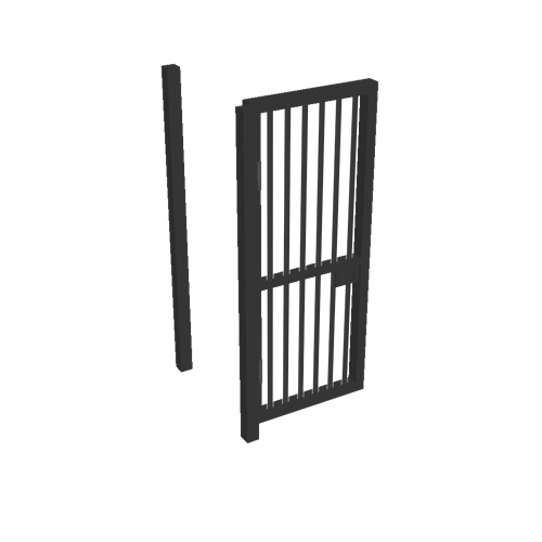Screenshot of Gate, Black Steel Pallisade, 1m x 2.5m, Open