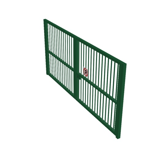 Screenshot of Gate, Green Steel Pallisade, Double 5m x 2.5m, Closed