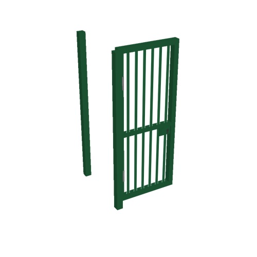 Screenshot of Gate, Green Steel Pallisade, 1m x 2.5m, Open