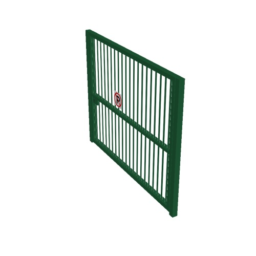 Screenshot of Gate, Green Steel Pallisade, 3m x 2.5m, Closed