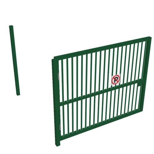 Screenshot of Gate, Green Steel Pallisade, 3m x 2.5m, Open