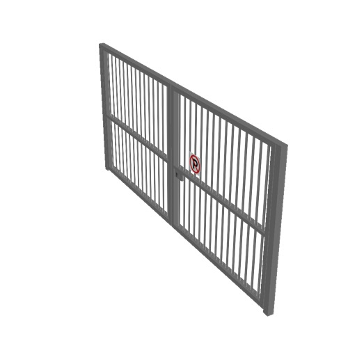 Screenshot of Gate, Grey Steel Pallisade, Double 5m x 2.5m, Closed