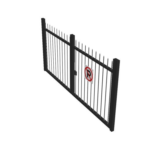 Screenshot of Gate, Black Steel Railing, 3m x 2.5m, Closed