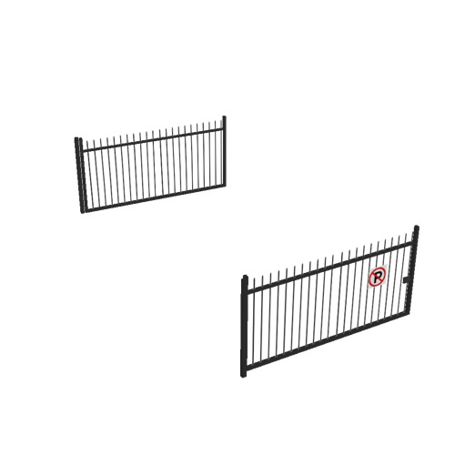 Screenshot of Gate, Black Steel Railing, Double 5m x 2.5m, Closed