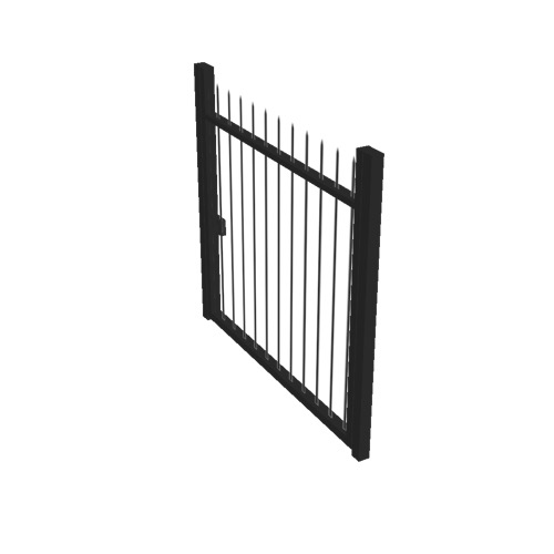 Screenshot of Gate, Black Steel Railing, 1m x 2.5m, Closed