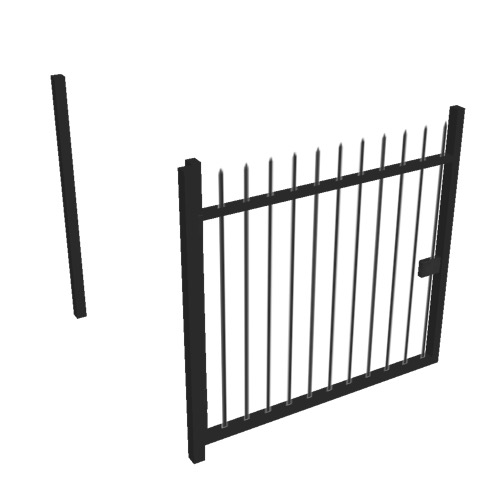 Screenshot of Gate, Black Steel Railing, 1m x 2.5m, Open