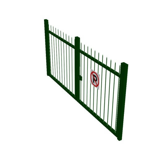 Screenshot of Gate, Green Steel Railing, 3m x 2.5m, Closed