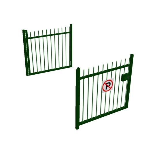 Screenshot of Gate, Green Steel Railing, 3m x 2.5m, Open