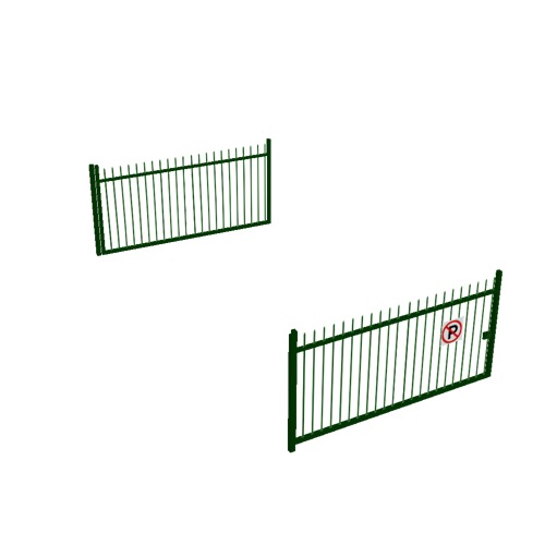 Screenshot of Gate, Green Steel Railing, Double 5m x 2.5m, Closed