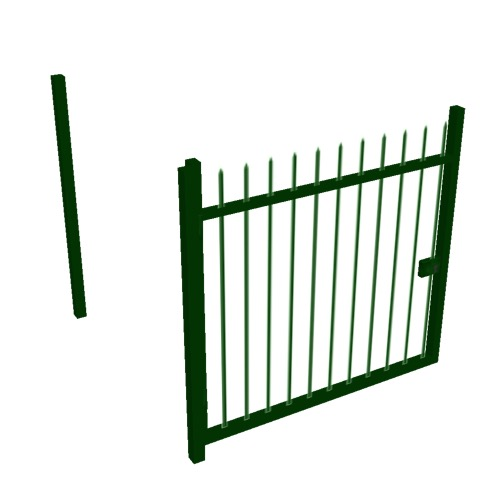 Screenshot of Gate, Green Steel Railing, 1m x 2.5m, Open