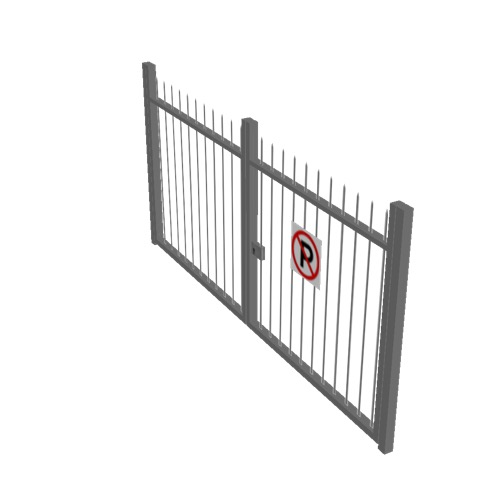 Screenshot of Gate, Grey Steel Railing, 3m x 2.5m, Closed