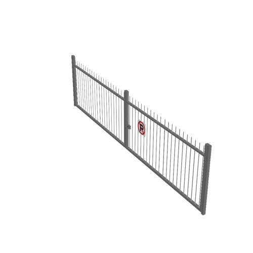 Screenshot of Gate, Grey Steel Railing, Double 5m x 2.5m, Closed