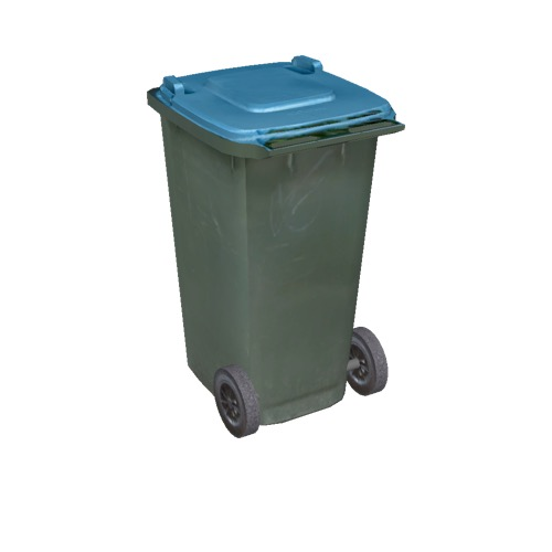 Screenshot of Wheelie bin, small, green, blue lid