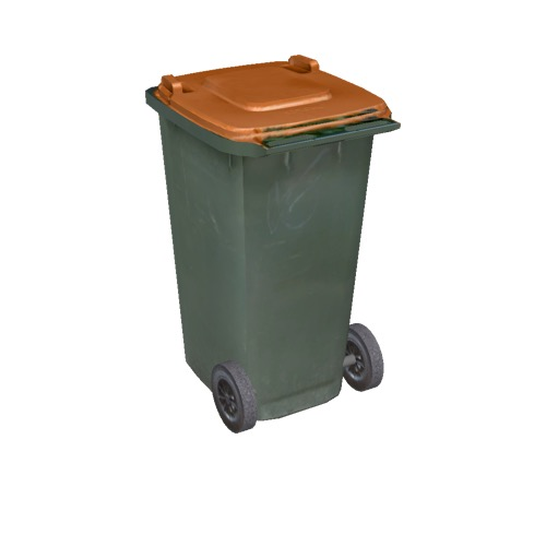 Screenshot of Wheelie bin, small, green, orange lid