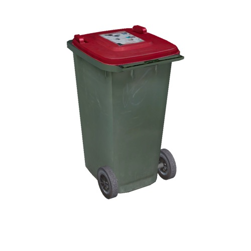 Screenshot of Wheelie bin, small, green, red lid
