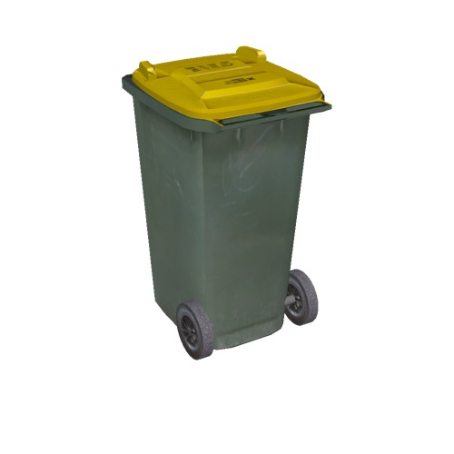 Screenshot of Wheelie bin, small, green, yellow lid