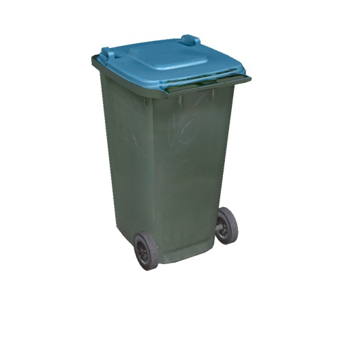 Screenshot of Wheelie bin, large, green, blue lid