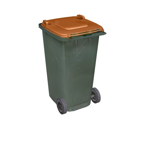 Screenshot of Wheelie bin, large, green, orange lid