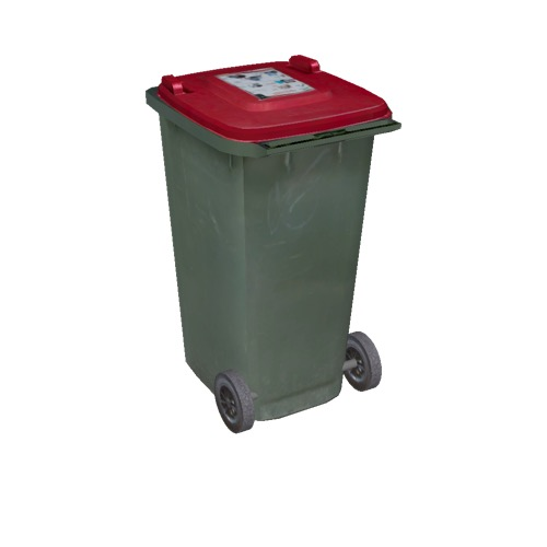 Screenshot of Wheelie bin, large, green, red lid
