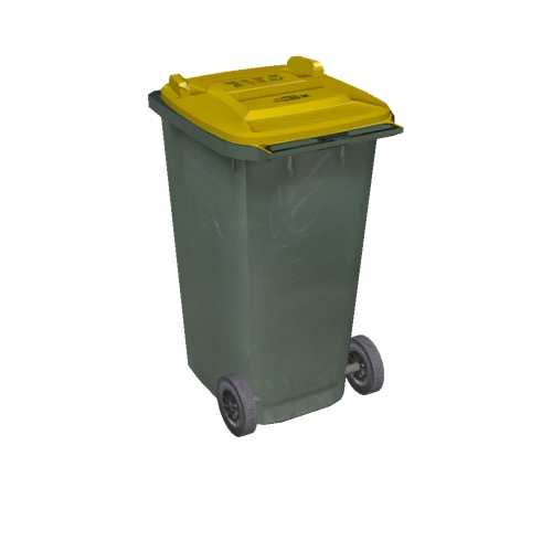 Screenshot of Wheelie bin, large, green, yellow lid
