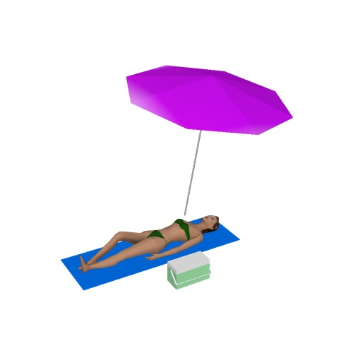 Screenshot of Woman, bikini, lying under parasol
