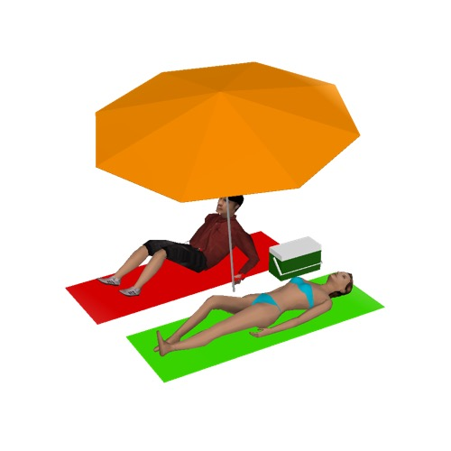 Screenshot of Man and woman lying under parasol