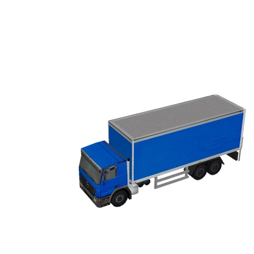 Screenshot of Box truck, 3-Axle Mercedes, blue