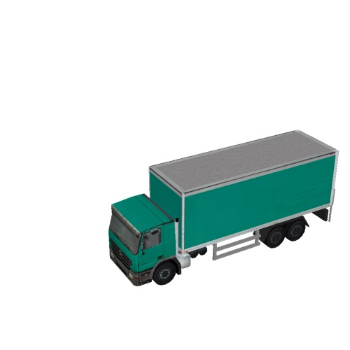Screenshot of Box truck, 3-Axle Mercedes, green