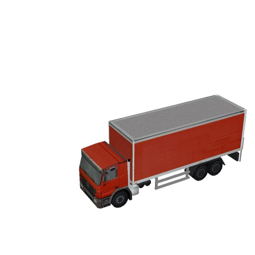 Screenshot of Box truck, 3-Axle Mercedes, red