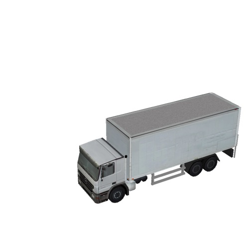 Screenshot of Box truck, 3-Axle Mercedes, White