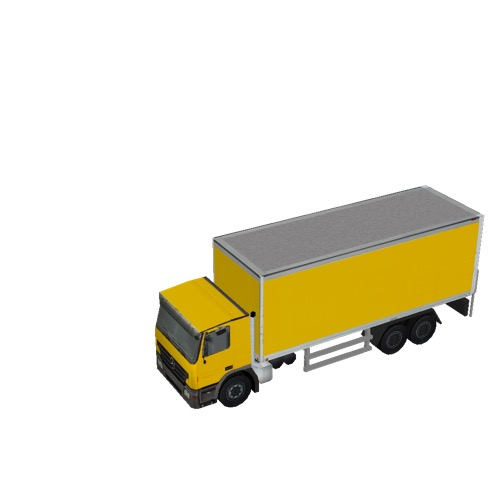 Screenshot of Box truck, 3-Axle Mercedes, yellow
