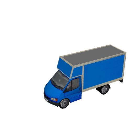 Screenshot of Commercial Ford Transit box truck, blue