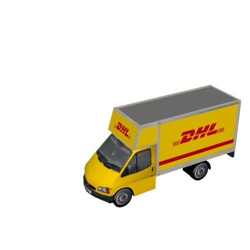 Screenshot of Commercial Ford Transit box truck, DHL
