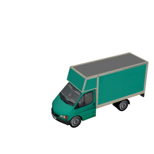 Screenshot of Commercial Ford Transit box truck, green