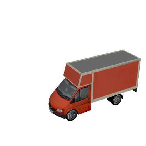 Screenshot of Commercial Ford Transit box truck, red