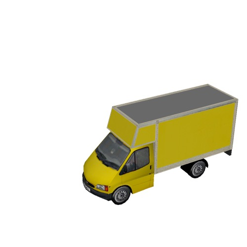 Screenshot of Commercial Ford Transit box truck, yellow