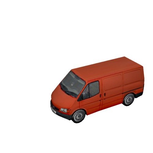 Screenshot of Commercial Ford Transit van, red
